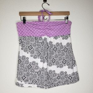 Roxy Purple White Black Mixed Print Halter Tank